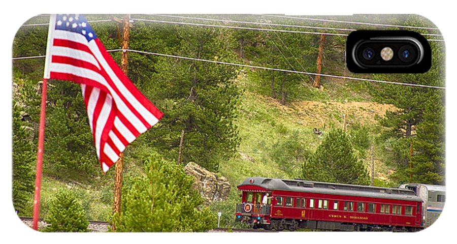 Cyrus K. Holliday Private Rail Car IPhone X Case featuring the photograph Cyrus K. Holliday Rail Car And Usa Flag by James BO Insogna