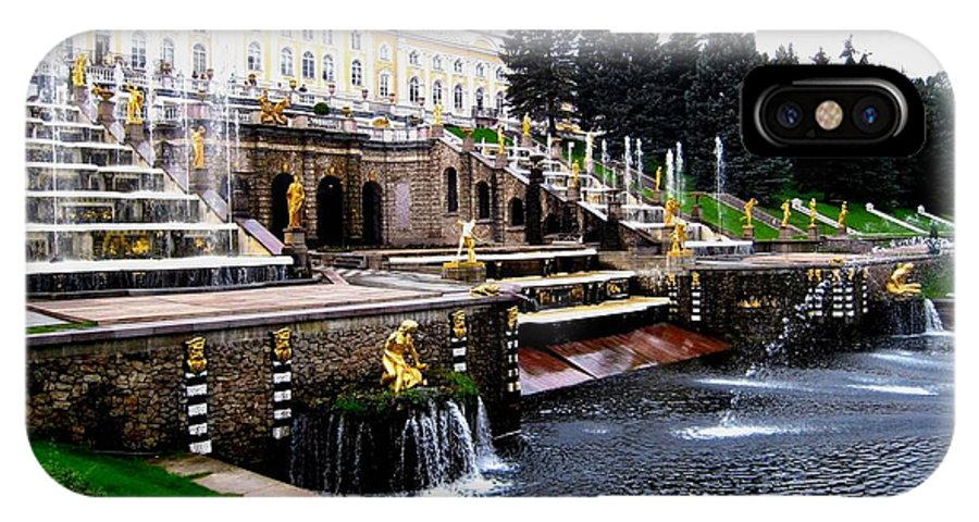 St. Petersburg IPhone X Case featuring the photograph Czar Summer Palace Fountain by Gerald Blaine
