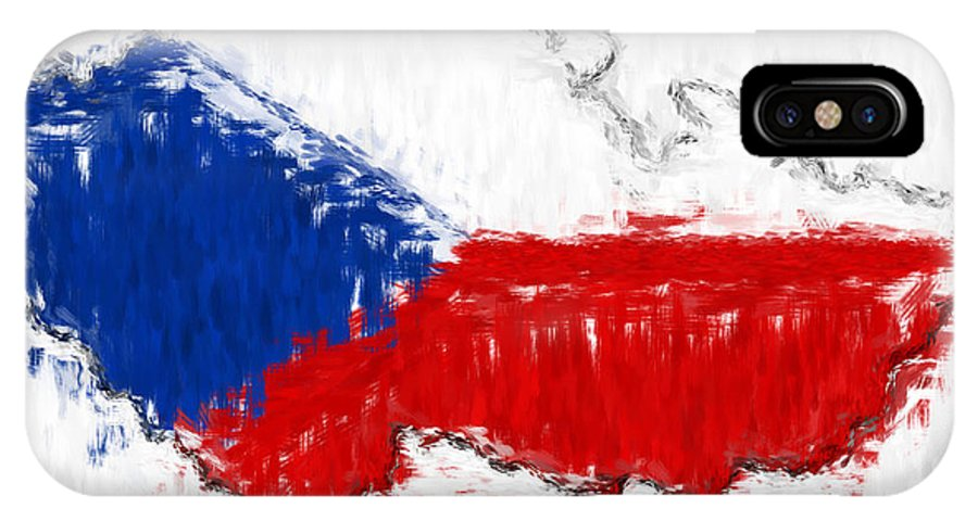 Czech IPhone X Case featuring the photograph Czech Republic Painted Flag Map by Antony McAulay