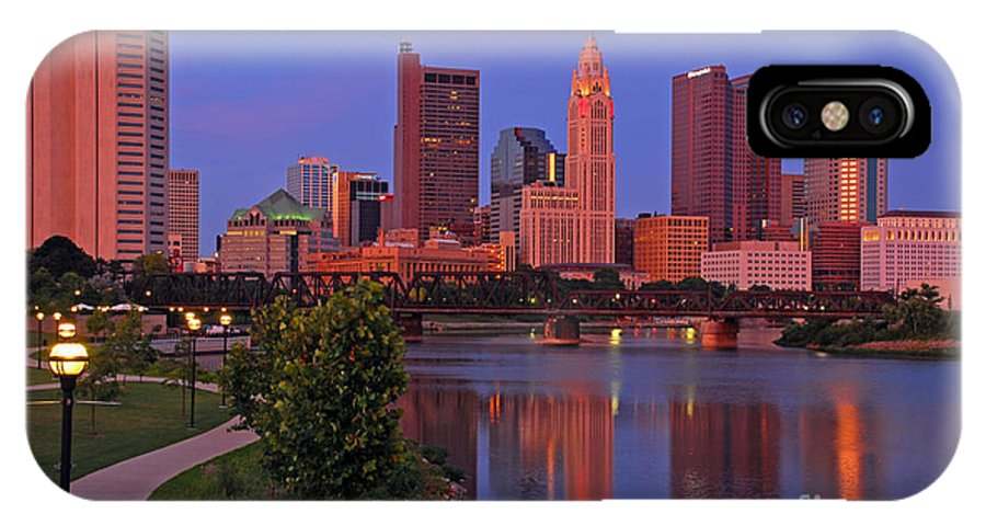 Columbus IPhone X Case featuring the photograph D2l38 Columbus Ohio Skyline Photo by Ohio Stock Photography