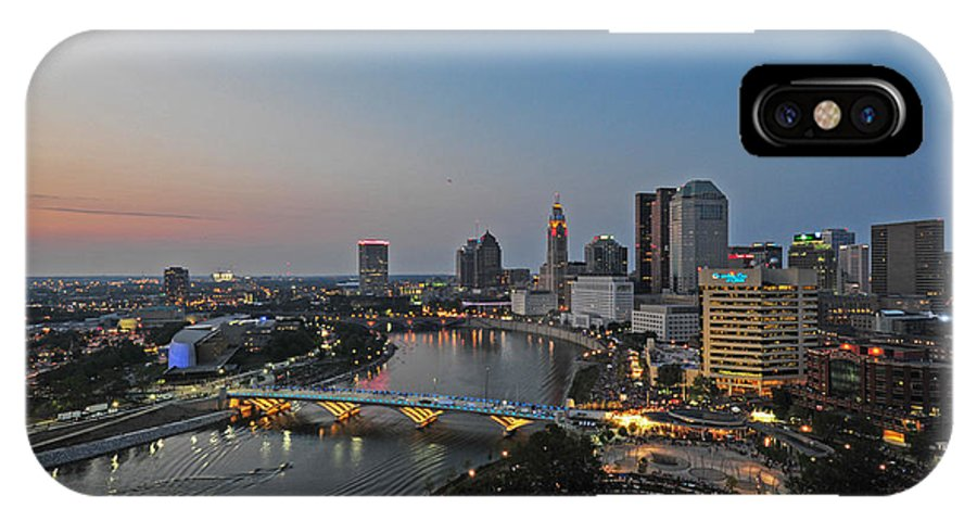Columbus IPhone X Case featuring the photograph D2l448 Columbus Ohio Night Skyline Photo by Ohio Stock Photography