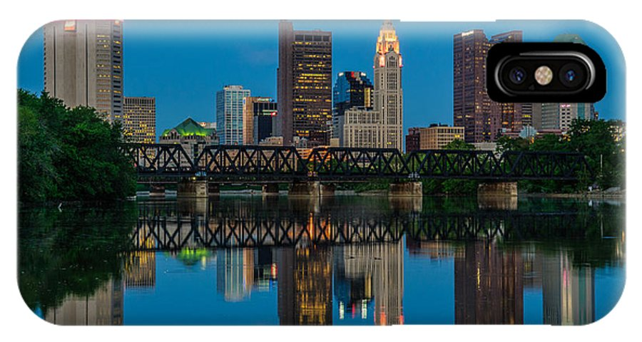 Columbus IPhone X Case featuring the photograph D2l64 Columbus Ohio Skyline by Ohio Stock Photography