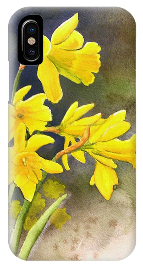 Rick Huotari IPhone X / XS Case featuring the painting Daffodils by Rick Huotari