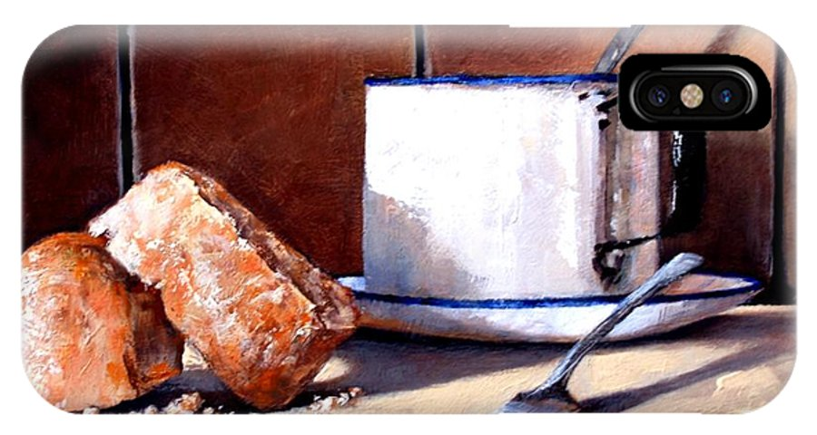Still Life IPhone X / XS Case featuring the painting Daily Bread Ver 2 by Jim Gola