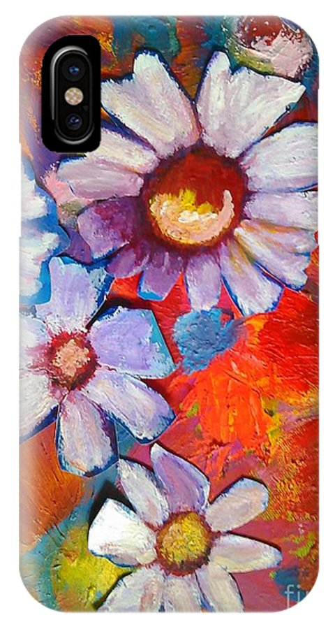 Floral IPhone Case featuring the painting Daisies And Strawberries 2014 by Sidra Myers
