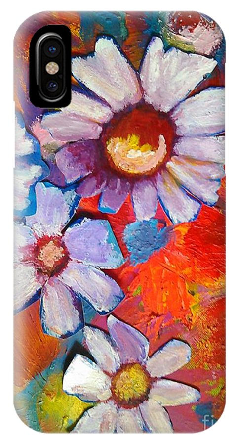 Floral IPhone X Case featuring the painting Daisies And Strawberries 2014 by Sidra Myers