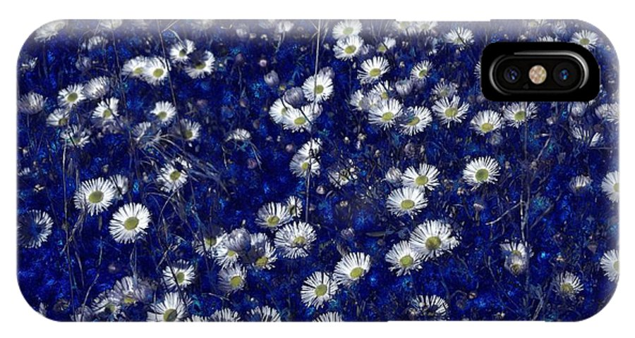Daisies IPhone X Case featuring the digital art Daisies In Blue Fire by Michael Hurwitz