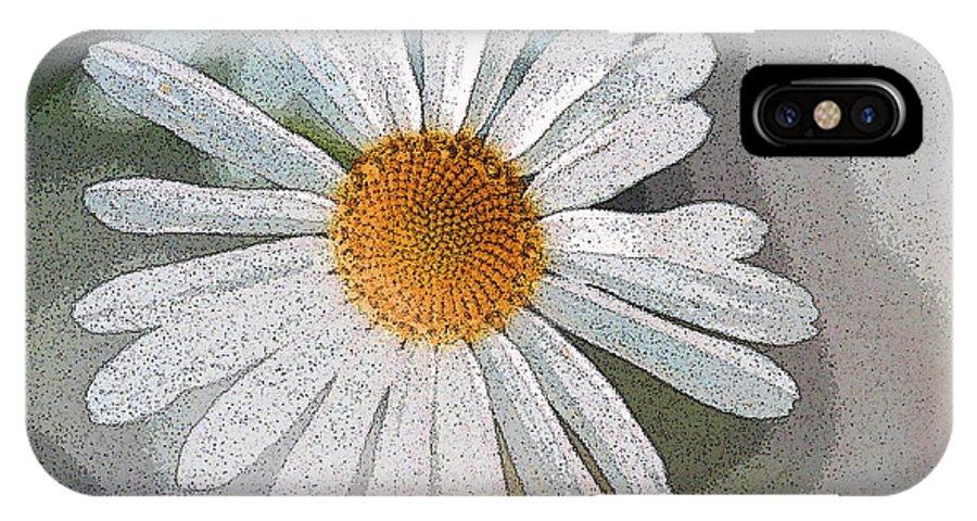 Daisy IPhone X Case featuring the digital art Daisies by Ronald Jansen