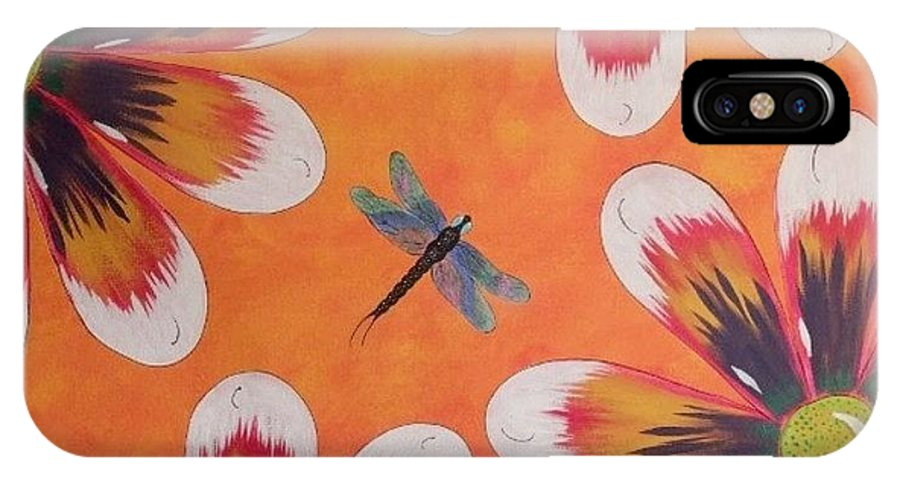 Daisy IPhone X Case featuring the painting Daisy And Dragonfly by Cindy Micklos