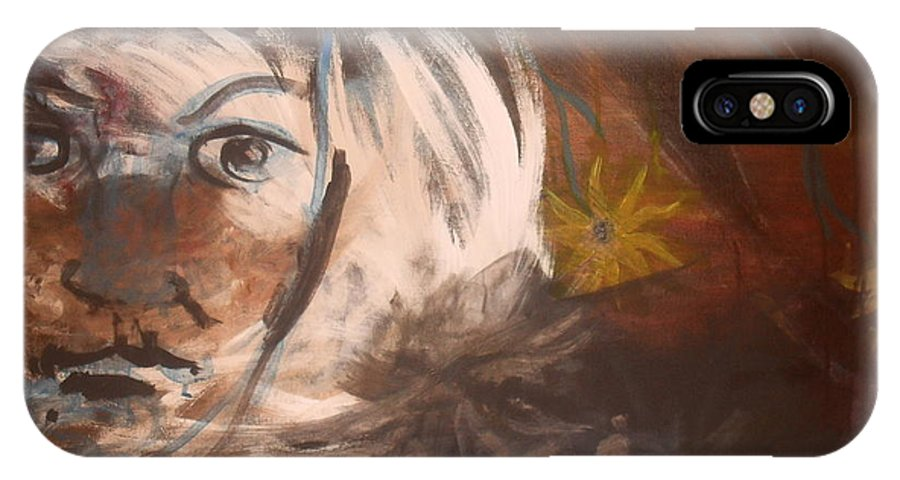 Abstract IPhone X Case featuring the painting Daisy by Audrey Mccain
