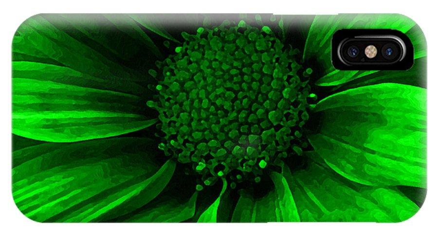 Daisy IPhone X Case featuring the mixed media Daisy Daisy Neon Green by Angelina Vick