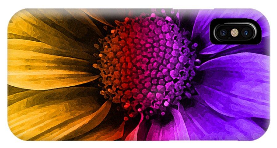 Daisy IPhone X Case featuring the mixed media Daisy Daisy Yellow To Purple by Angelina Vick