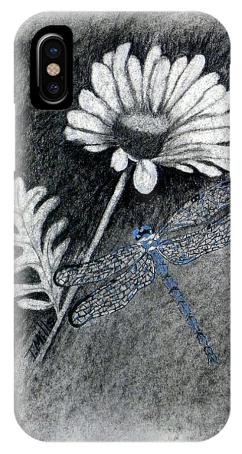 Charcoal IPhone X Case featuring the drawing Daisy N Dragonfly by Terri Mills