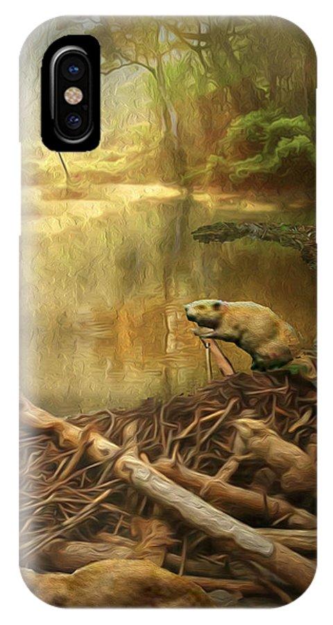 IPhone X Case featuring the digital art Dam Beavers by Michael Pittas