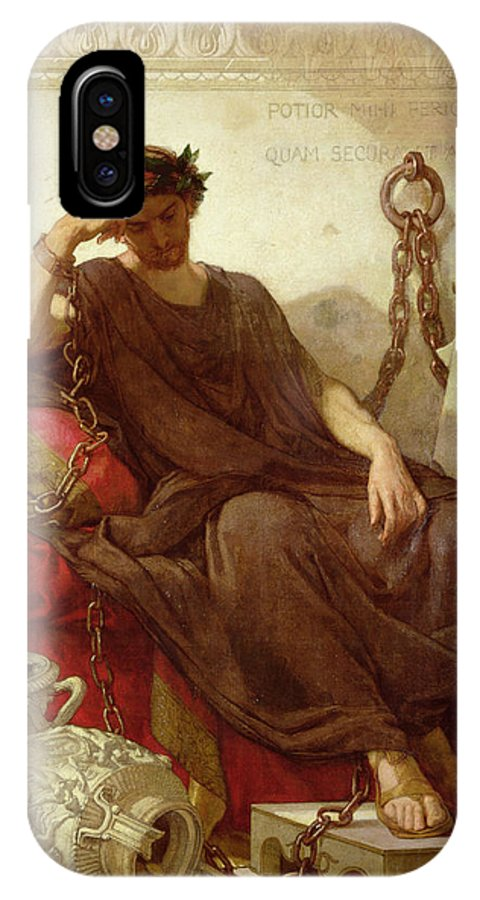 Chained IPhone X Case featuring the painting Damocles by Thomas Couture