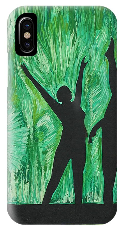 Abstract IPhone X Case featuring the painting Dance by Aimee Vance