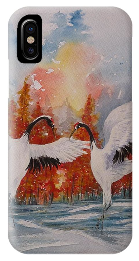 Cranes IPhone X Case featuring the painting Dance At Dawn by Rayne Van Sing