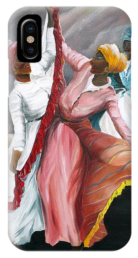 Dancers Folk Caribbean Women Painting Dance Painting Tropical Dance Painting IPhone X Case featuring the painting Dance The Pique 2 by Karin Dawn Kelshall- Best