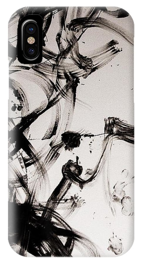 Black IPhone X Case featuring the painting Dance With Me by Ayse Thornett
