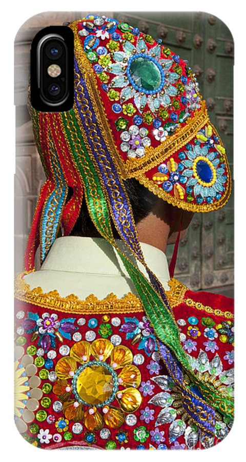 People IPhone X / XS Case featuring the photograph Dancer In Native Costume Peru by Bill Bachmann