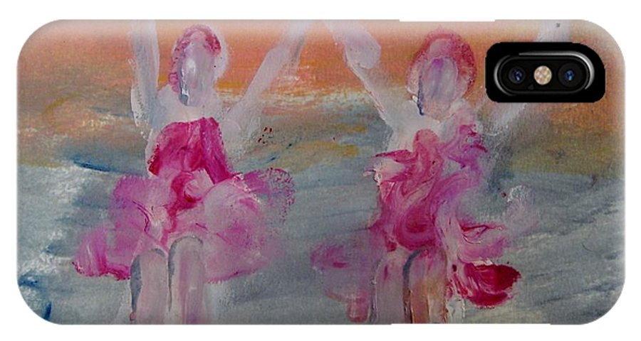 Dance IPhone X Case featuring the painting Dancers 135 by Edward Wolverton