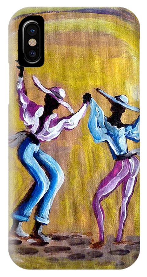 Carnival IPhone X Case featuring the painting Dancers Gold by David Francke