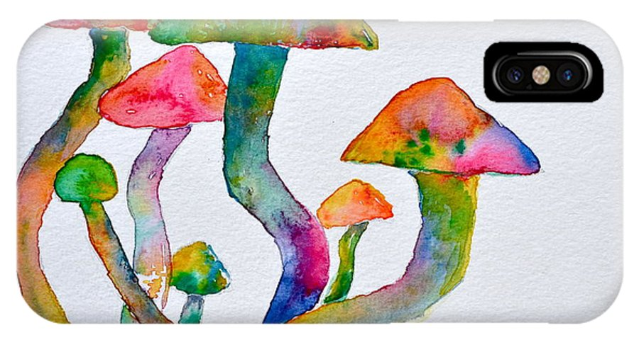 Visions IPhone X Case featuring the painting Dancing Cubensis by Beverley Harper Tinsley