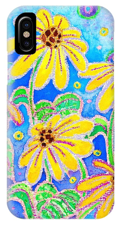 Black-eyed Susans IPhone X Case featuring the painting Dancing Susans by Kacy Cope