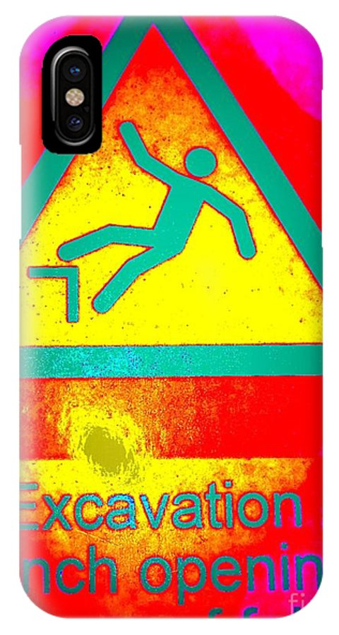 Signs IPhone X Case featuring the photograph Danger Of Falling by Ed Weidman