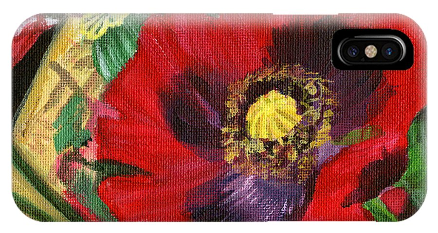 Red IPhone X / XS Case featuring the painting Dangerous Beauty by Renee Barnes