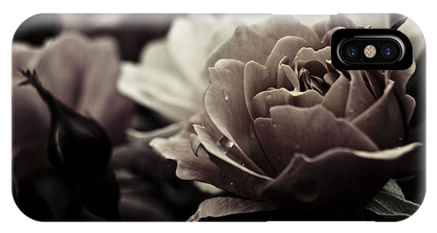 Flowers IPhone X / XS Case featuring the photograph Dark Flower 20 by Grebo Gray