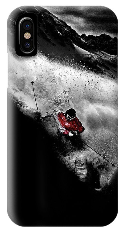 Ski IPhone X Case featuring the photograph Dark Freeride by Tristan Shu