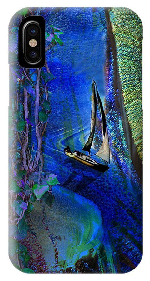 Dark River IPhone X Case featuring the digital art Dark River by Lisa Yount