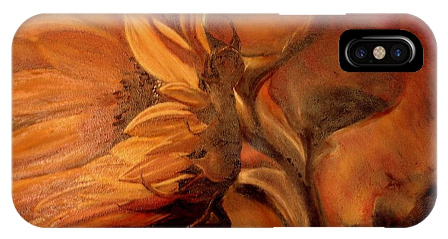 Sunflower IPhone X Case featuring the painting Dark Sunflower by Sorin Apostolescu