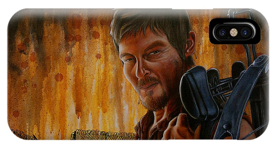 Daryl IPhone X Case featuring the painting Daryl by Marlon Huynh