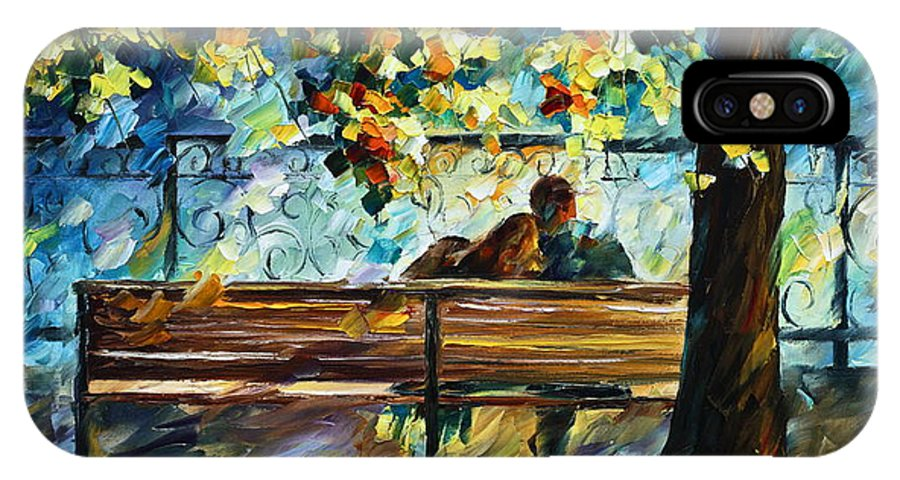 Landscape IPhone X Case featuring the painting Date On The Bench by Leonid Afremov