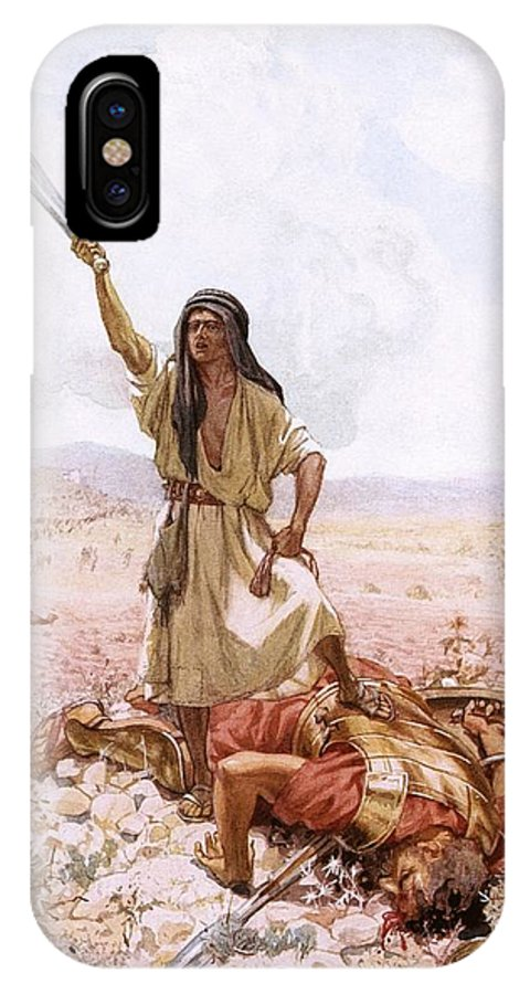 Bible IPhone X Case featuring the painting David And Goliath by William Brassey Hole
