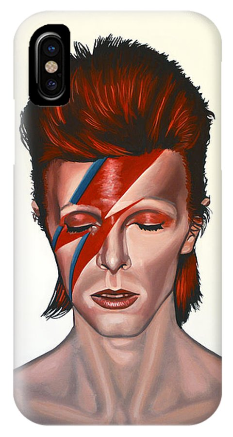 David Bowie IPhone X Case featuring the painting David Bowie Aladdin Sane by Paul Meijering