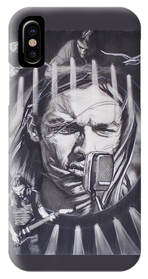 Charcoal On Paper IPhone X Case featuring the drawing David Gilmour Of Pink Floyd - Echoes by Sean Connolly