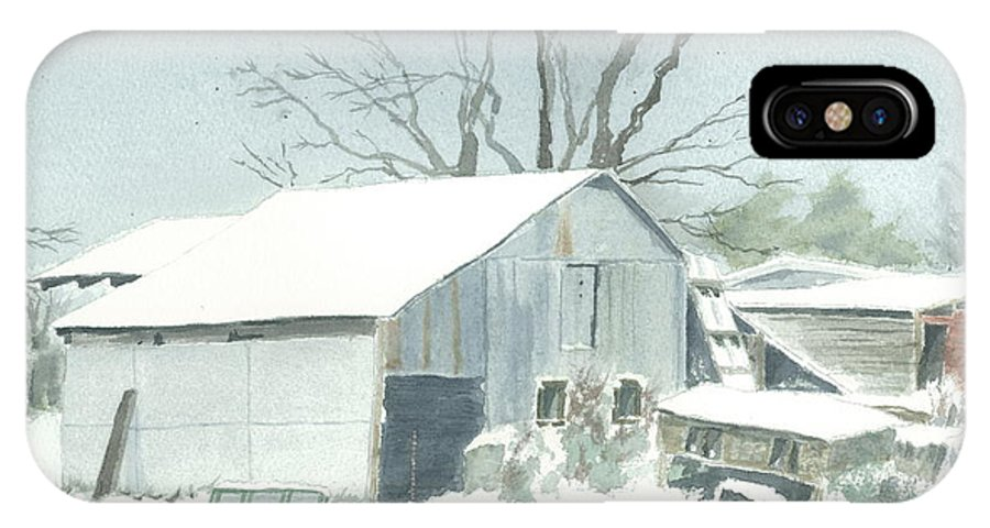 Winter IPhone X Case featuring the painting David Hoyles Shed by Joel Deutsch