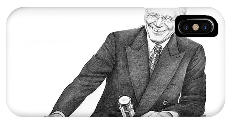 Pencil IPhone X Case featuring the drawing David Letterman by Murphy Elliott
