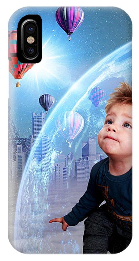 Kid IPhone X Case featuring the digital art Rud#005 by Remus Ovidiu Udrescu