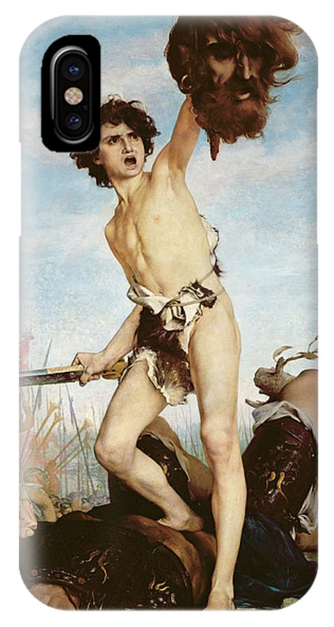 Old Testament IPhone X Case featuring the painting David Victorious Over Goliath by Gabriel Joseph Marie Augustin Ferrier