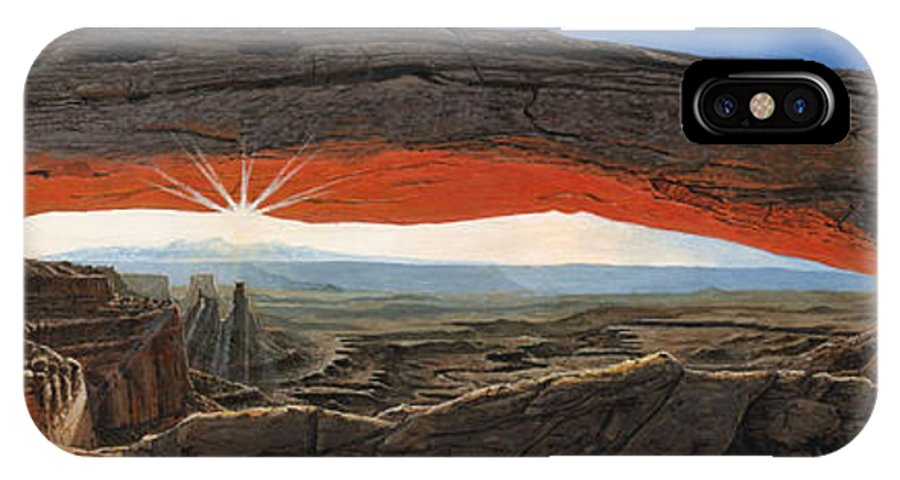 Mesa Arch IPhone X Case featuring the painting Dawn At Mesa Arch Canyonlands Utah by Richard Harpum