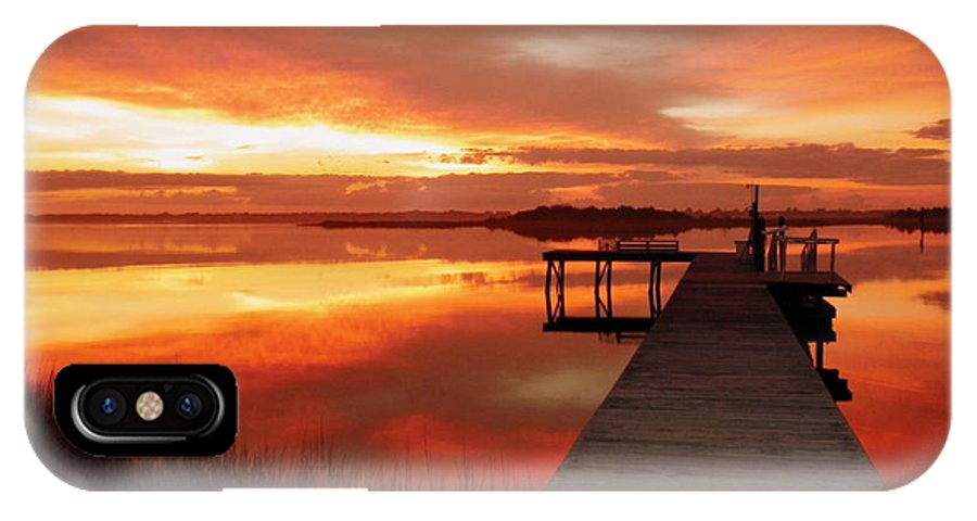 Orange Waterscapes IPhone X Case featuring the photograph Dawn Of New Year by Karen Wiles
