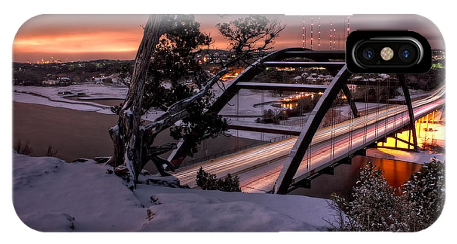 Austin IPhone X Case featuring the photograph Dawn Over Snowy Austin by Eric Snethkamp