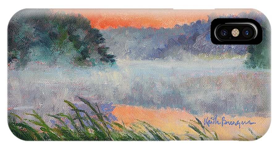 Impressionism IPhone X Case featuring the painting Dawn Reflection Study by Keith Burgess