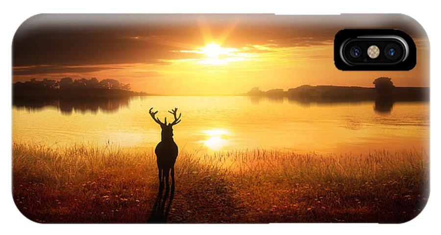 Deer IPhone X Case featuring the digital art Dawn's Golden Light by Jennifer Woodward