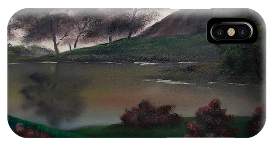 Landscape IPhone X Case featuring the painting Dawn's New Day by Cynthia Adams