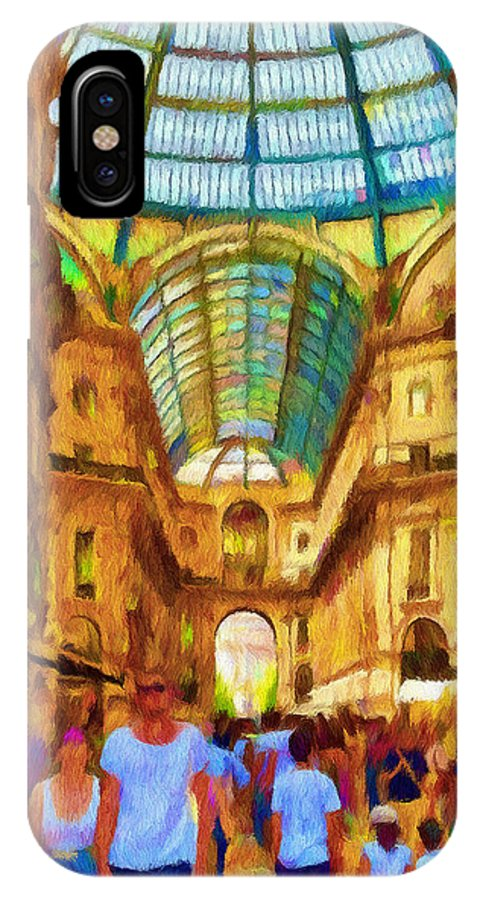 Galleria IPhone X / XS Case featuring the painting Day At The Galleria by Jeffrey Kolker